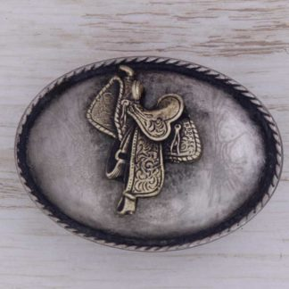 BUCKLE WESTERN AH12C SADDLE ON SCALLOPED OVAL