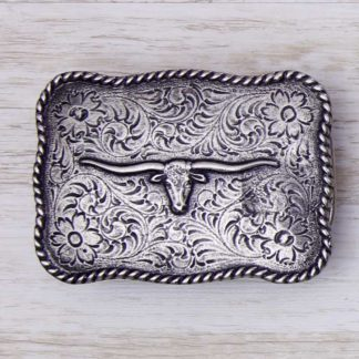 BUCKLE WESTERN No.156 LONGHORN ON PAISLEY
